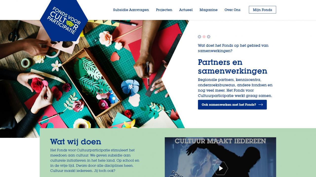 screenshot van onze nieuwe website