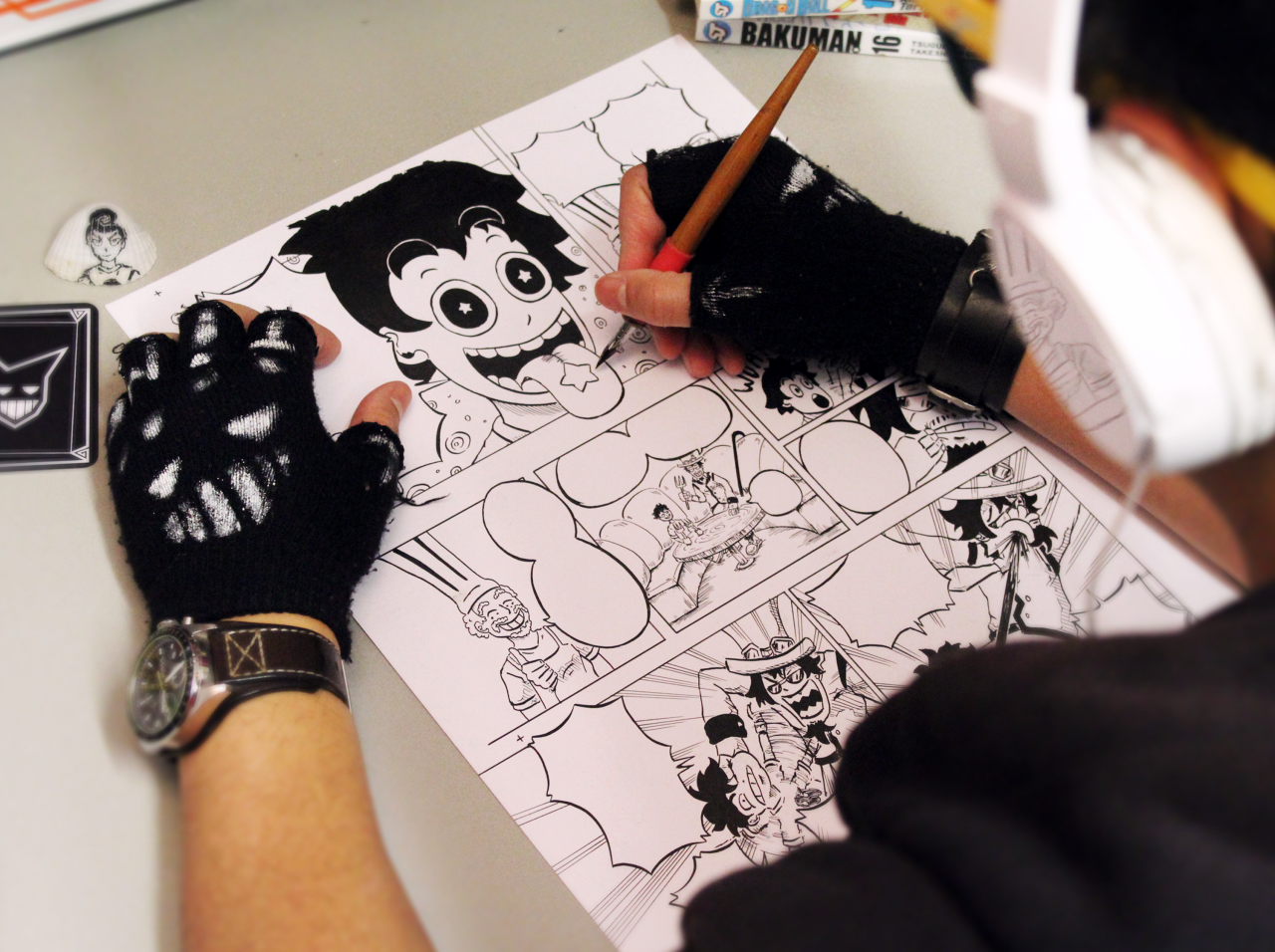 Ninjakees tekent een party time-pagina