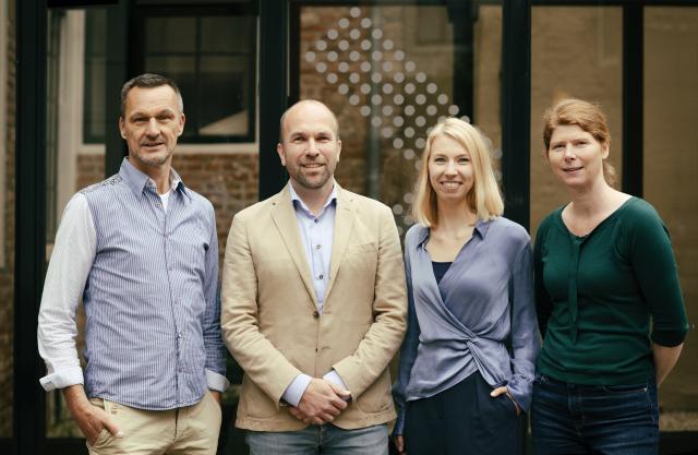 Het team erfgoed; van links naar rechts Arie Koelemij, Jan ten Berge, Caro Burggraaf en Judith Pors