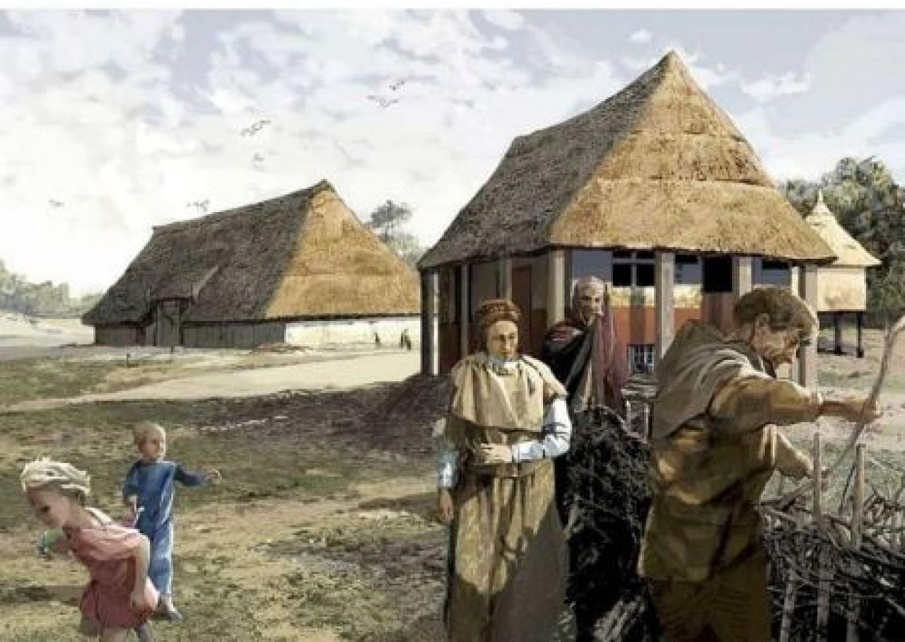 Impressie van een Germaans dorp